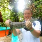 Krokodil vasthouden