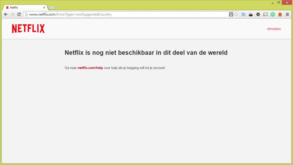 Netflix foutmelding: Netflix is nog niet beschikbaar in dit deel van de wereld