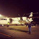 Het toestel van FlyBe naar Londen