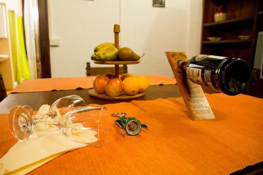 Fruit en wijn van de eigenaar