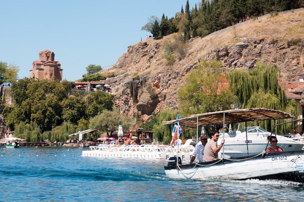 Met een bootje over het meer van Ohrid