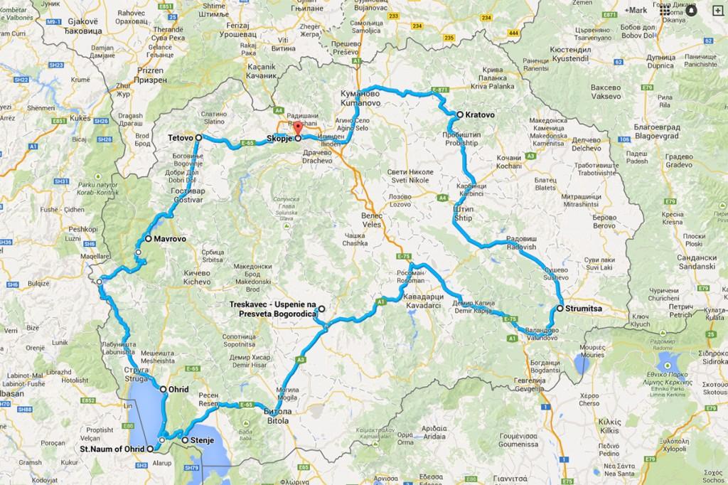 De route van onze rondreis door Macedonië