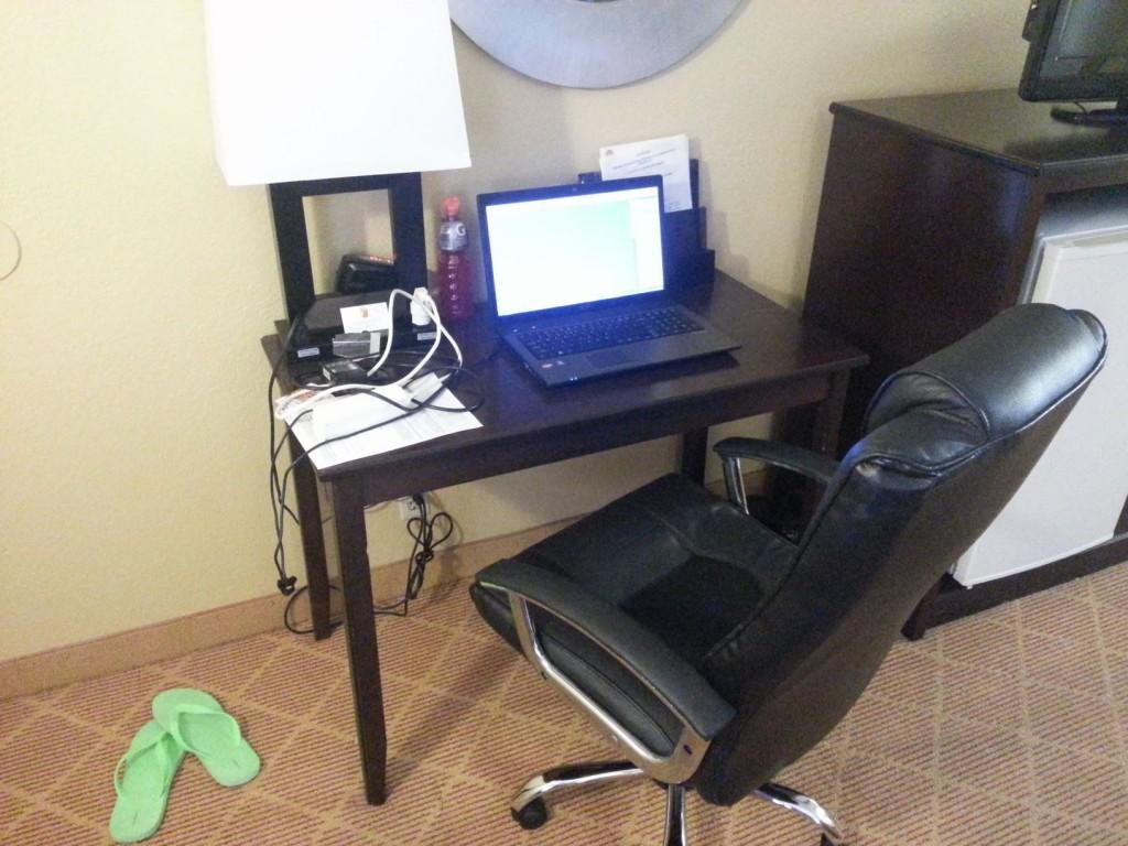 Aan het werk in een motel in Amerika