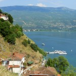 Uitzicht over het meer van Ohrid, Macedonië