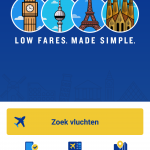 Screenshot van de Ryanair app