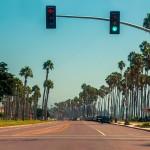 Verkeerslichten op de Highway 1 in Santa Barbara, Californië